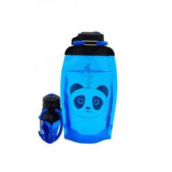 Складная эко бутылка, синяя, объём 500 мл - артикул B050BLS-1413 с рисунком