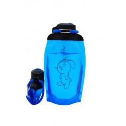 Складная эко бутылка, синяя, объём 500 мл - артикул B050BLS-1415 с рисунком