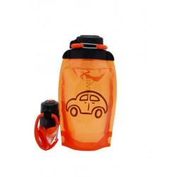 Складная эко бутылка, оранжевая, объём 500 мл - артикул B050ORS-1403 с рисунком