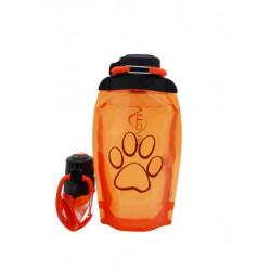 Складная эко бутылка, оранжевая, объём 500 мл - артикул B050ORS-1414 с рисунком