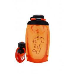 Складная эко бутылка, оранжевая, объём 500 мл - артикул B050ORS-1415 с рисунком