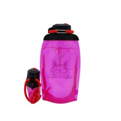 Складная эко бутылка, розовая, объём 500 мл - артикул B050PIS-1405 с рисунком