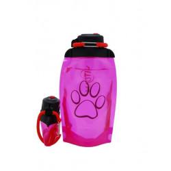 Складная эко бутылка, розовая, объём 500 мл - артикул B050PIS-1414 с рисунком