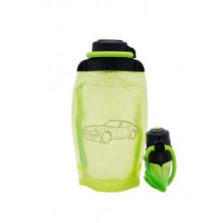 Складная эко бутылка, желто-зеленая, объём 500 мл - артикул B050YGS-1404 с рисунком