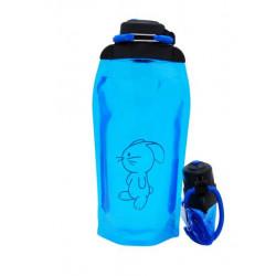 Складная эко бутылка, синяя, объём 860 мл - артикул B086BLS-1415 с рисунком