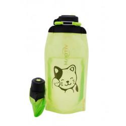 Складная эко бутылка, желто-зеленая, объём 860 мл - артикул B086YGS-1406 с рисунком