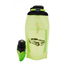 Складная эко бутылка, желто-зеленая, объём 860 мл - артикул B086YGS-1401 с рисунком