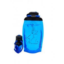 Складная эко бутылка, синяя, объём 500 мл - артикул B050BLS-1409 с рисунком
