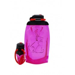 Складная эко бутылка, розовая, объём 500 мл - артикул B050PIS-1409 с рисунком