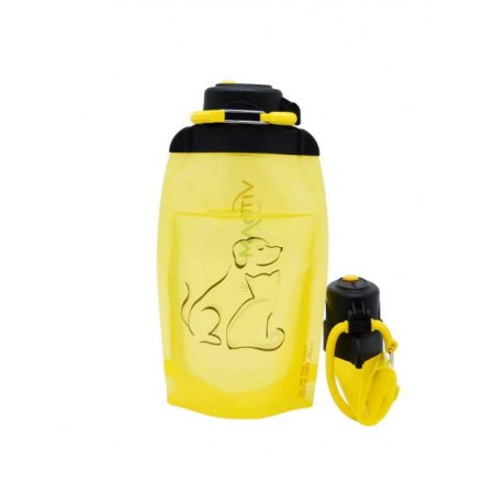 Складная эко бутылка, желтая, объём 500 мл - артикул B050YES-1409 с рисунком