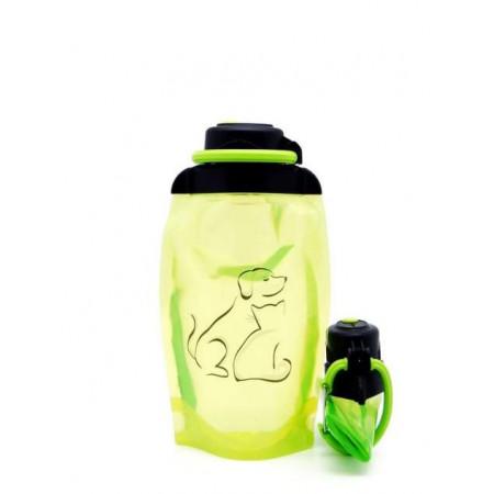 Складная эко бутылка, желто-зеленая, объём 500 мл - артикул B050YGS-1409 с рисунком