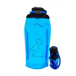 Складная эко бутылка, синяя, объём 860 мл - артикул B086BLS-1409 с рисунком
