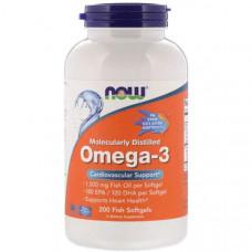 NOW Omega-3 1000 мг - 200 Fish Softgels - Омега 3 в гель-капсулах из рыбьего желатина