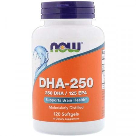 NOW DHA — 250 - 250 DHA/125 EPA - 120 капсул - докозагексаеновая кислота омега 3