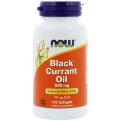 NOW Black Currant Oil 500 мг - 100 капсул - масло черной смородины ГЛК АЛК жирные кислоты