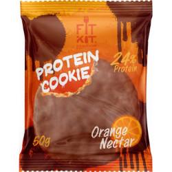 Печенье Fit Kit Chocolate Protein Cookie 24 50 г, 24 шт., апельсиновый нектар