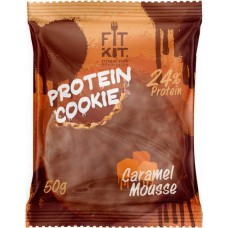 Печенье Fit Kit Chocolate Protein Cookie 24 50 г, 24 шт., карамельный мусс
