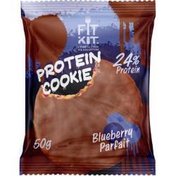 Печенье Fit Kit Chocolate Protein Cookie 24 50 г, 24 шт., черничное парфе