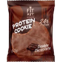 Печенье Fit Kit Chocolate Protein Cookie 24 50 г, 24 шт., двойной шоколад