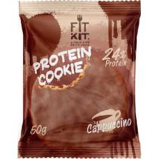 Печенье Fit Kit Chocolate Protein Cookie 24 50 г, 24 шт., капучино