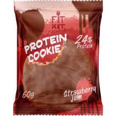 Печенье Fit Kit Chocolate Protein Cookie 24 50 г, 24 шт., клубничный джем