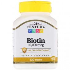 Витамин B7 21st Century Biotin 10000 mcg 120 таблеток