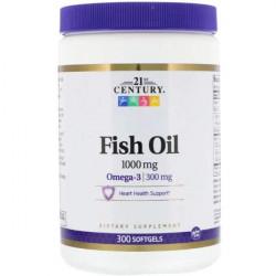 21st Century Omega 3 Fish Oil 1000 mg 300 капсул