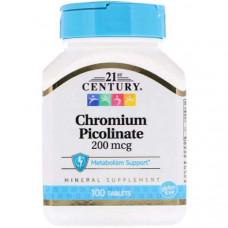 Хром 21st Century Chromium Picolinate 200 mcg 100 таблеток