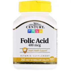 Фолиевая кислота 21st Century Folic Acid 400 mcg 250 таблеток