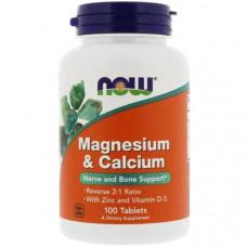 Комплекс NOW Magnesium & Calcium with Zinc and Vitamin D-3 100 таблеток