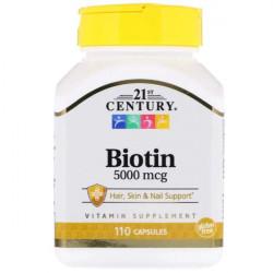 Витамин B7 21st Century Biotin 5000 110 капсул
