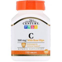 Витамин C 21st Century Vitamin C 500 mg with Rose Hips 110 таблеток