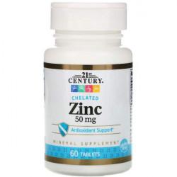 21st Century Zinc Chelate 50 мг, 60 таблеток