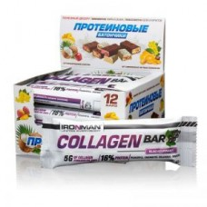 Батончик IRONMAN Collagen Bar с коллагеном 12 шт черная смородина