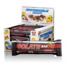 Батончик IRONMAN Isolate Bar, 12штх50г клубника/темная глазурь