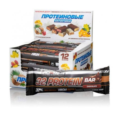 Батончик IRONMAN 32 Protein bar 12штх50г шоколад/темная глазурь