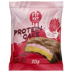 Fit Kit Protein Cake 70 г мини-набор из 3 шт Клубника со сливками