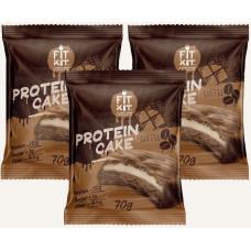 Печенье Fit Kit Protein Cake 3 70 г, 3 шт., шоколад/кофе